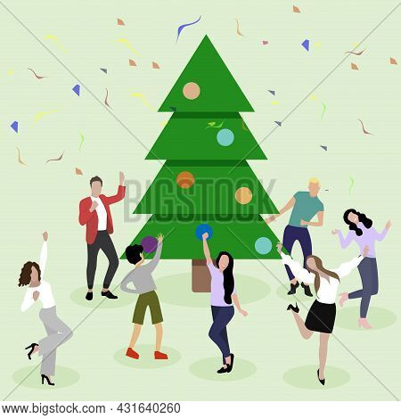 Happy New Year, People Dance And Enjoy Around Christmas Tree. Vector Of Christmas Party, People Cele