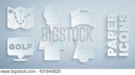 Set Golf Shirt, Sun Visor Cap, Label, Club With Ball, On Tee And Course Layout Icon. Vector