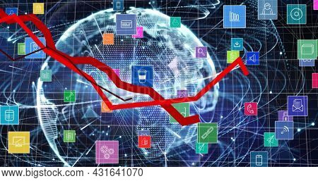 Image of digital icons and data processing with red lines over globe in background. global connections and digital interface concept digitally generated image.