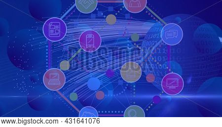 Image of network of connections with digital icons over globe with binary coding. global finances and business, connections and digital interface concept digitally generated image.