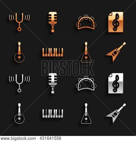 Set Music Synthesizer, Treble Clef, Electric Bass Guitar, Guitar, Banjo, Tambourine, Musical Tuning
