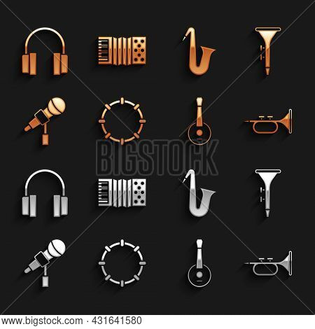 Set Tambourine, Drum And Drum Sticks, Trumpet, Banjo, Microphone, Musical Instrument Saxophone, Head