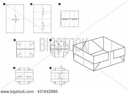 How To Make Origami Box. Step By Step Black And White Simple Diy Instructions. Outline Monochrome Ve