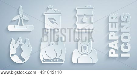 Set Say No To Plastic Bags Poster, Barrel Oil, Global Warming Fire, Polar Bear Head, Recycle Bin Wit