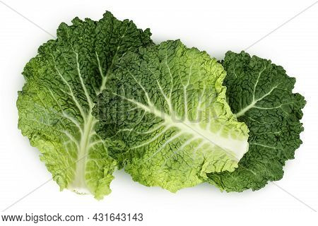 Savoy Cabbage Leaves Isolated On White Background With Clipping Path And Full Depth Of Field. Top Vi