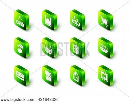 Set Paper Shopping Bag, Cashier At Cash Register, Shopping Cart, Chicken Egg Box, Buy Button, List,