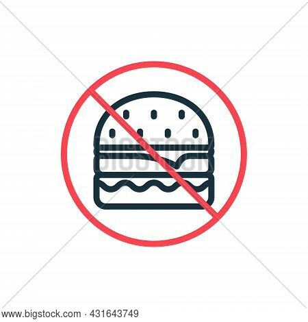 Unhealthy Forbidden Food Line Icon. Prohibition Of Eating Here Linear Pictogram. Concept Of Ban Burg