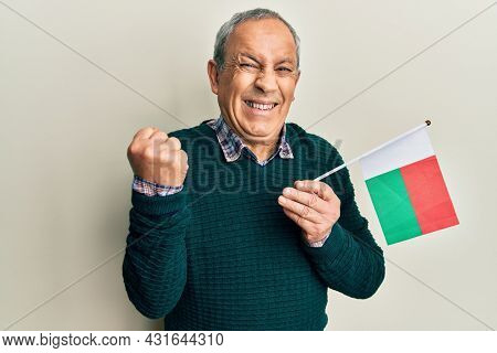 Handsome senior man with grey hair holding madagascar flag screaming proud, celebrating victory and success very excited with raised arm