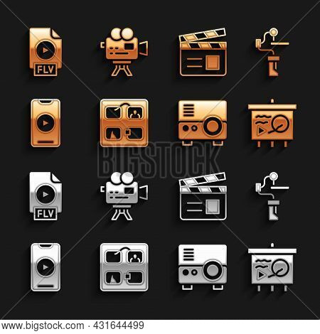 Set Storyboard, Gimbal Stabilizer For Camera, Scenario On Chalkboard, Media Projector, Online Play V