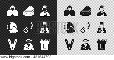 Set Mantle, Cloak, Cape, Ticket, Wizard Warlock, Rabbit With Ears, Vampire, Castle Tower, Moon And S