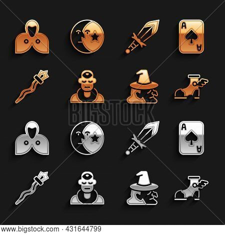 Set Wizard Warlock, Playing Cards, Hermes Sandal, Witch, Magic Staff, Medieval Sword, Mantle, Cloak,