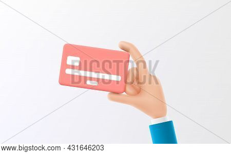 Cartoon Hand Of Businessman Holds Debit Or Credit Card. Vector Illustration Of Concept Of Contactles