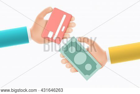 Cartoon Hand Of Businessmans Hold Banknotes And Credit Card. Concept Of Financial Operation With Mon