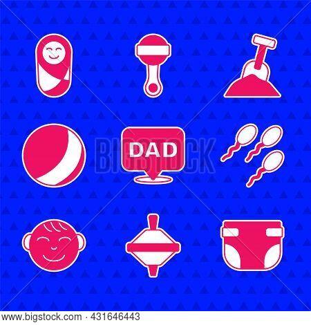 Set Speech Bubble Dad, Whirligig Toy, Baby Diaper, Sperm, Little Boy Head, Beach Ball, Sandbox With