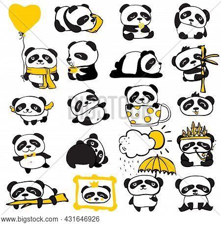 Panda Doodle Kid Set. Simple Design Of Cute Pandas And Individual Elements Perfect For Kids Card, Ba