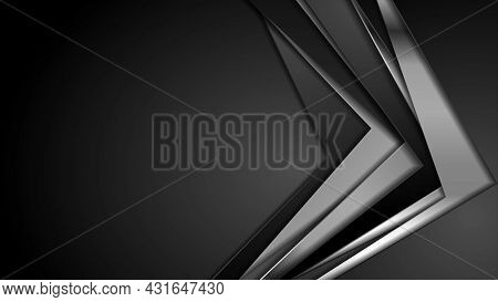 Black and silver metallic stripes abstract corporate background