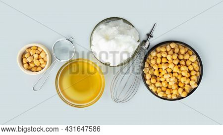 Chickpea Aquafaba. Egg Replacement. Vegan Cooking Concept. Whipped Chickpeas Liquid In Glass Bowl. C