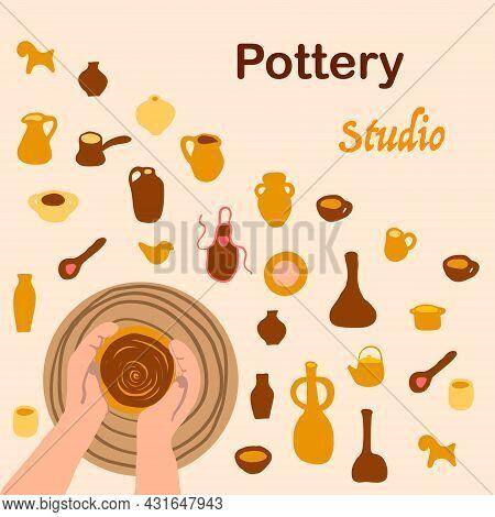 Pottery Studio Concept Pottery Workshop Set Vector
