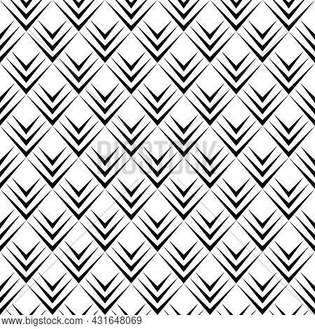 Abstract Diamond Shape Background Pattern. Geometric Shapes Seamless. Arrowhead Black And White. Tex