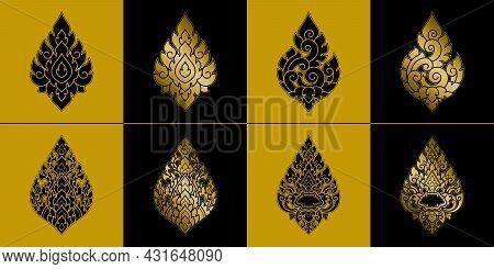 Golden Diamond Shape Thai Art Pattern Template Set. Retro Antique Style. Original Vintage Ornament.