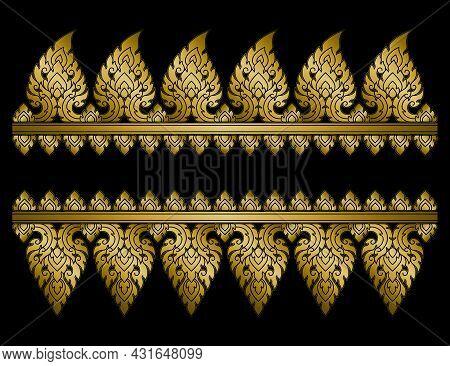 Thai Art Pattern Template Set. Retro Antique Style. Original Vintage Ornament. Decorative Design Ele