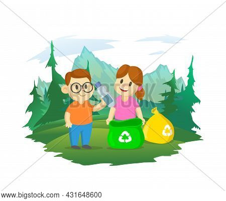 Cute Little Boy And Girl Collecting Plastic Garbage And Segregating Waste. Forest And Mountain Lands