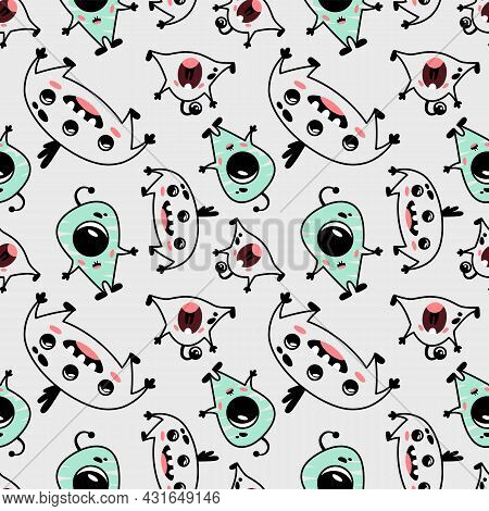 Funny And Cute Seamless Pattern With Different Monsters. Print For Children's Clothes, Baby Textiles