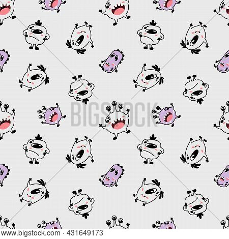 Cartoon Seamless Pattern With Cool Emotional Monsters. Print For Children's Clothes, Baby Textiles,