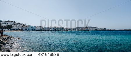 Panoramic View Of The New Port In Hora (also Known As Mykonos Town), Mykonos, Greece.