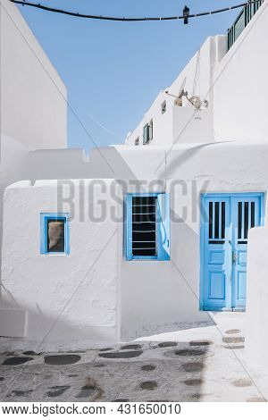 Traditional Whitewashed Houses With Blue Details In Hora (mykonos Town), Mykonos, Greece.