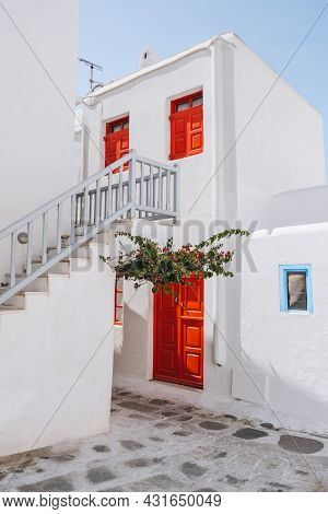 Traditional Whitewashed Houses With Red Details In Hora (mykonos Town), Mykonos, Greece.