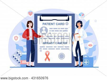 Breast Cancer Awareness, Doctor Checkup Female Patient, Health Care And Disease Prevention. Flat Ill