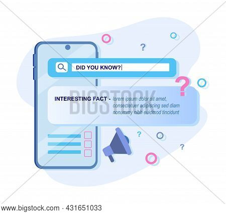 Did You Know Speech Bubble With Loudspeaker And Question Mark. Clip Art For Interesting Fact Web Sit