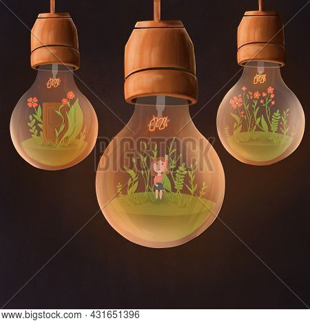 Fairytale Child Illustration Of Three Glowing Light Bulbs. Girl Trying To Touch The Wire Of Light Bu
