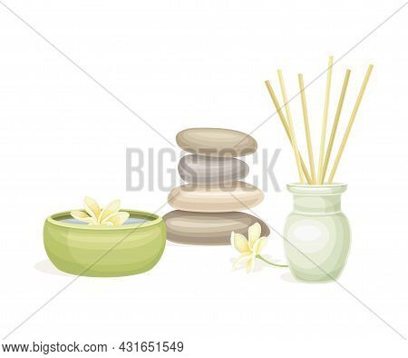 Spa And Aromatherapy With Incense And Stones Vector Composition