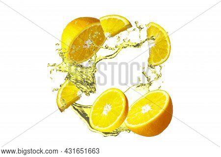 Fresh Orange Concept. Juicy Orange Fruit. Splashing Water And Crushed Orange In Motion Isolated On W