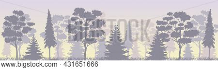 Tree Silhouette With Tall Trunk And Branches As Misty Forest Horizontal Backdrop Vector Illustration