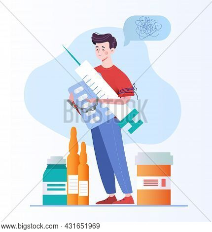 Disease Therapy Medicament Treatment. Drug Addiction. Confused Man Standing And Holding Medical Item