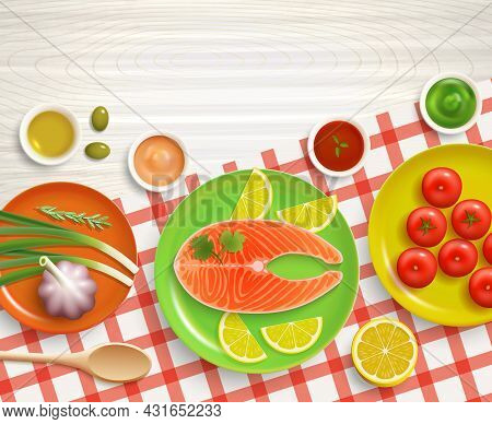 Flat Lay Cooking Fish With Tomatoes And Lemon Dish On Checked Tablecloth Wood Textured Background Ve