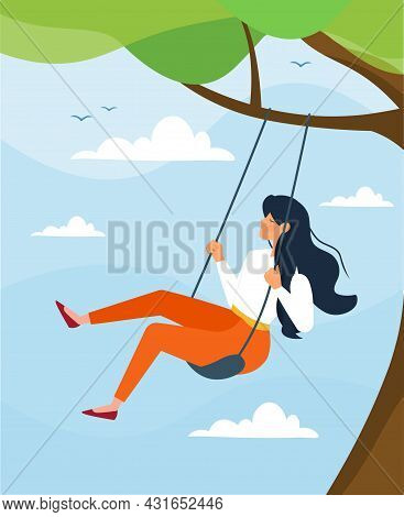 Young Cute Close Eyes Woman Swing On A Swing. Personal Space And Time. Nature Therapy And Finding In