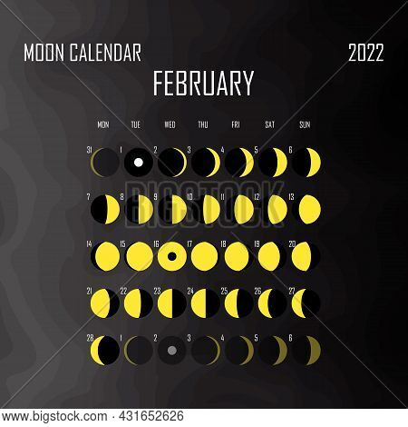 February 2022 Moon Calendar. Astrological Calendar Design. Planner. Place For Stickers. Month Cycle