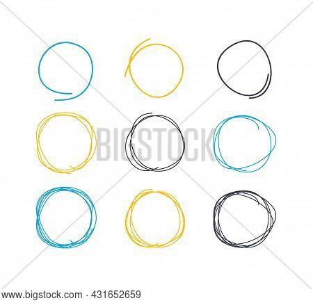 Hand Drawn Circle Line Sketch Circular Scribble Doodle Round Circles Set Elements Web And App Design