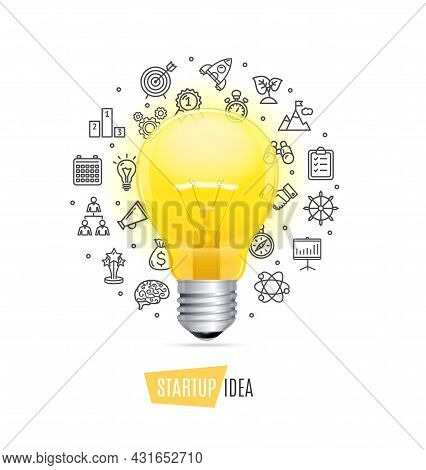 Startup Concept With Realistic Detailed 3d Lightbulb And Thin Line Icons Set Include Of Rocket, Grap