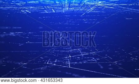 Future Digital Cyberspace With Moving Particles. Sorting And Analysis Digital Data. Technology Matri