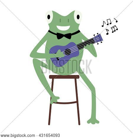 A Cute Green Frog Sits On A Chair And Plays The Ukulele. Musician, Singer, Sheet Music. Vector Flat