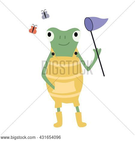 Cartoon Green Frog In A Yellow Jumpsuit With A Net Catching Butterflies. Vector Flat Illustration.
