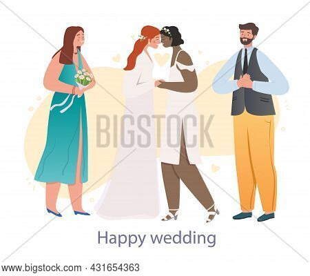 Happy Lesbian Wedding. Two Newlywed Women Pronounce Oath Of Love And Loyalty. Lgbt Community. People