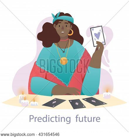 Fortune Teller At Work Concept. Woman With Supernatural Abilities Predicts Future With Help Of Tarot