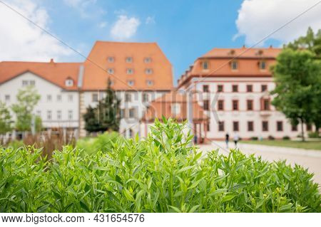 Bright Summer Greenery And Houses Of Erfurt Germany