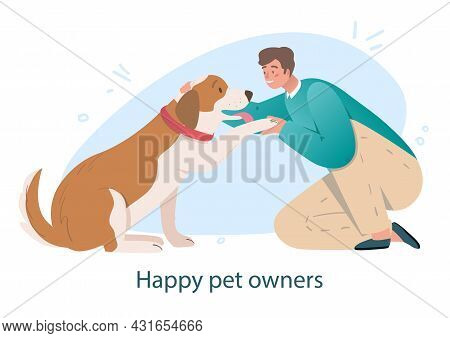 Dog Friends With Owner Concept. Man Holds Paw Of His Big Dog. Character Trains Pet. Good Relationshi